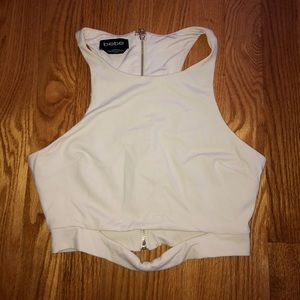 Beige bebe crop top